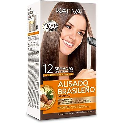 Kativa Alisado Brasileño - Con Keratina, Argán y Karité - Hasta 12 semanas