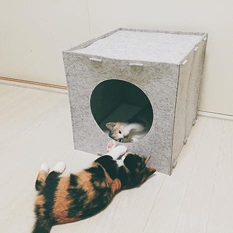 Cama de gatos casa cueva para gatos mascotas muy Cómodo y Bonitas Materiales de alta calidad en óptica de fieltro - Gris: Amazon.es: Productos para mascotas