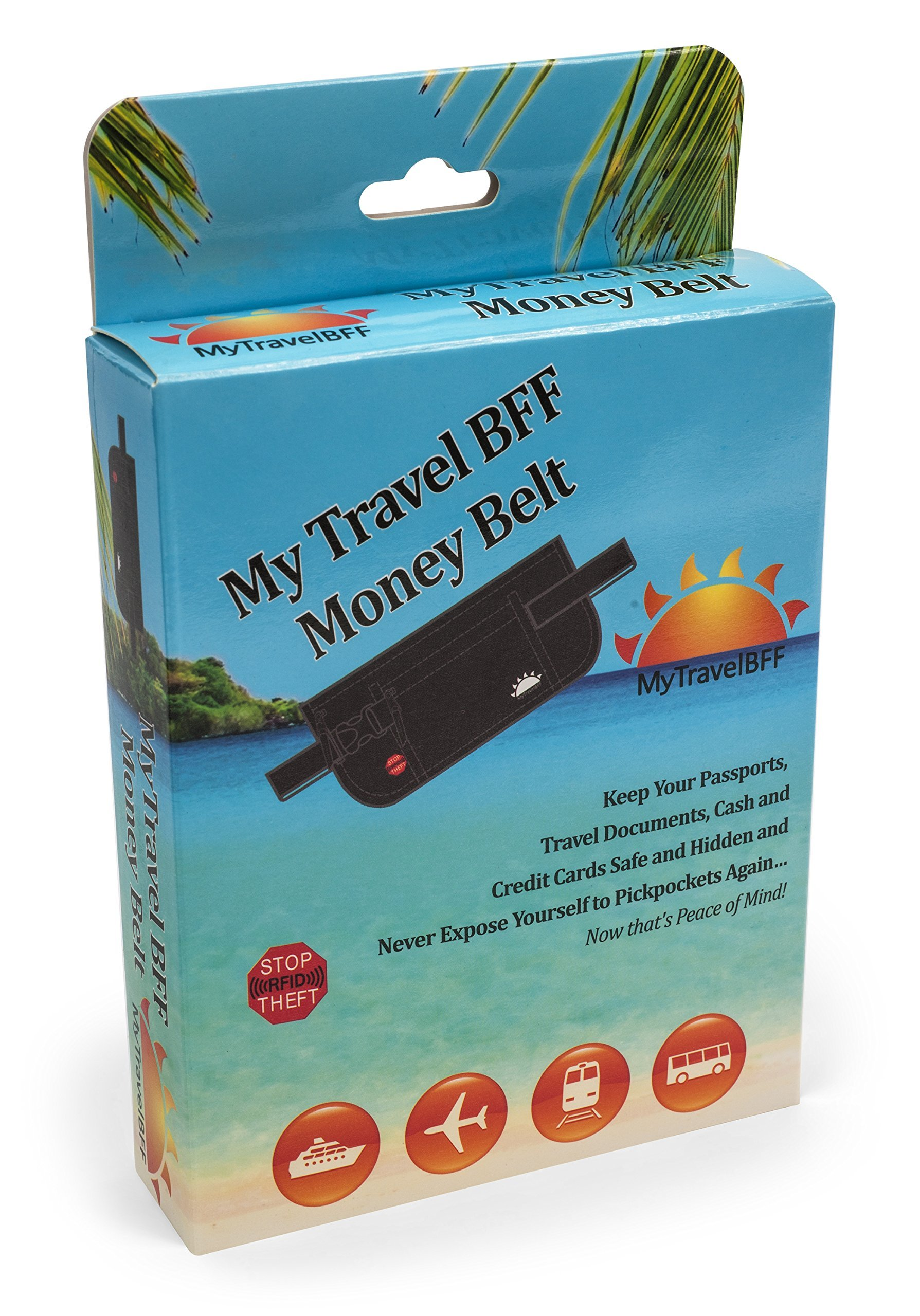 RFID Blocking Money Belt for Travel by MyTravelBFF, Keep Your Passport Hidden! by MyTravelBFF (Image #2)