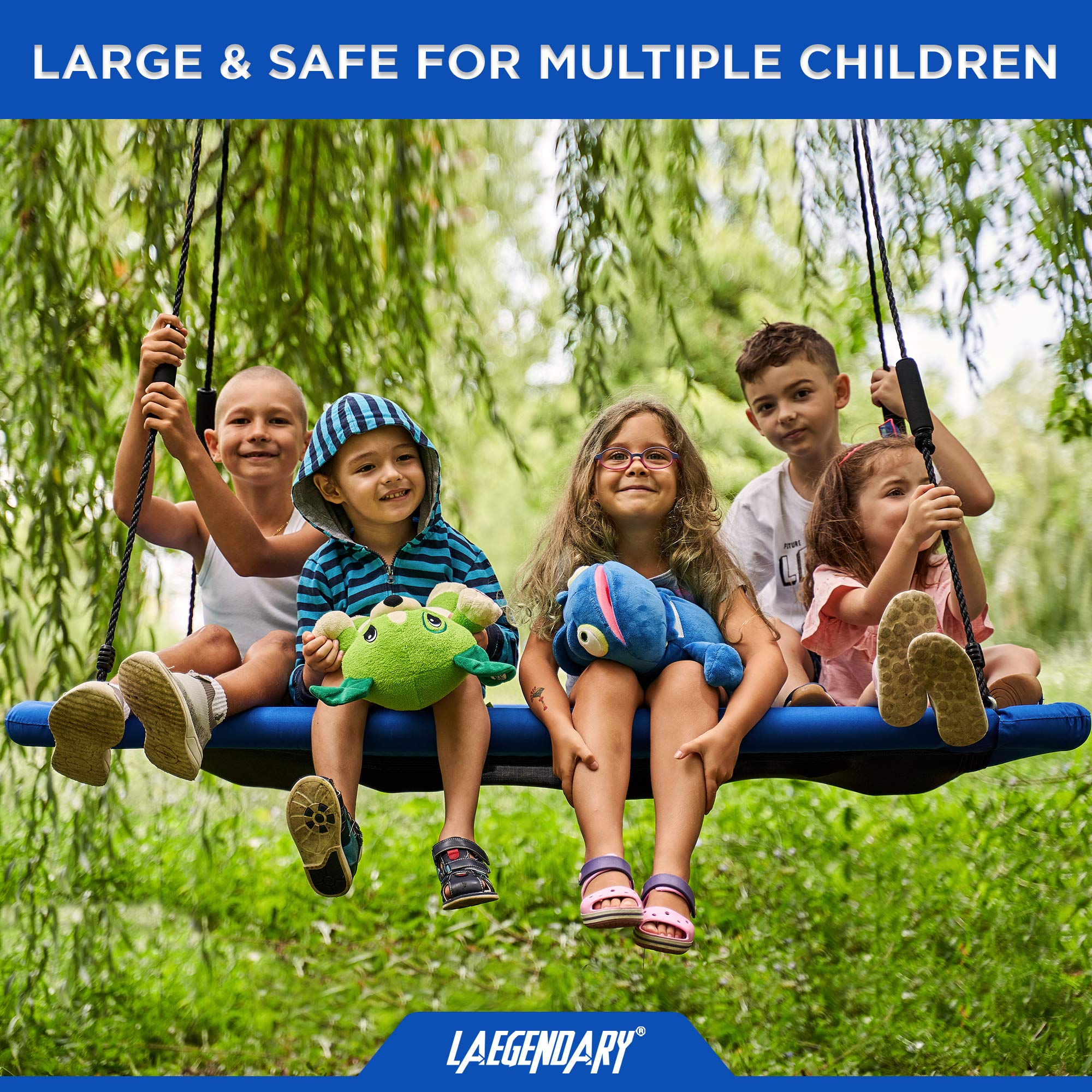 60'' Giant Platform Tree Swing for Kids and Adults | Flying Outdoor Indoor Saucer Hammock | Surf Tire Swingset Accessories Toys | 2 Tree Straps, 2 Carabiners, 1 Swivel | 600 Lb Capacity Yard Swings Set by LÆGENDARY (Image #5)