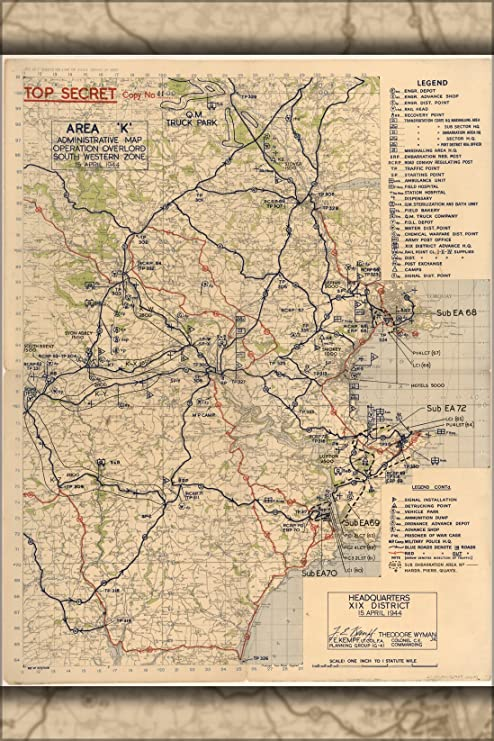 Amazon.com: 24x36 Poster; Area K Map Devon, England Operation ... on