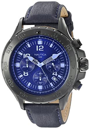 6d38858273e Amazon.com  Nautica Men s NAD21008G NST Chrono Blue Crystal Analog Display  Analog Quartz Blue Watch  Watches