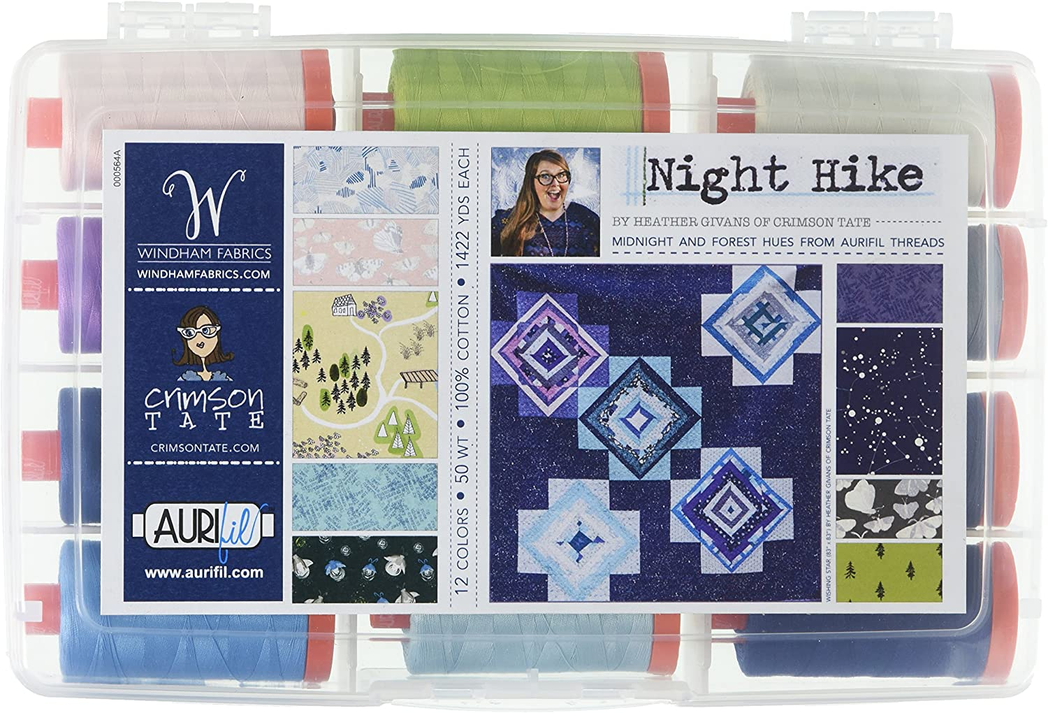Aurifil USA HG50NH12 Night Hike Collection by Heather Givans 50wt 12 Large Spools Thread Varies