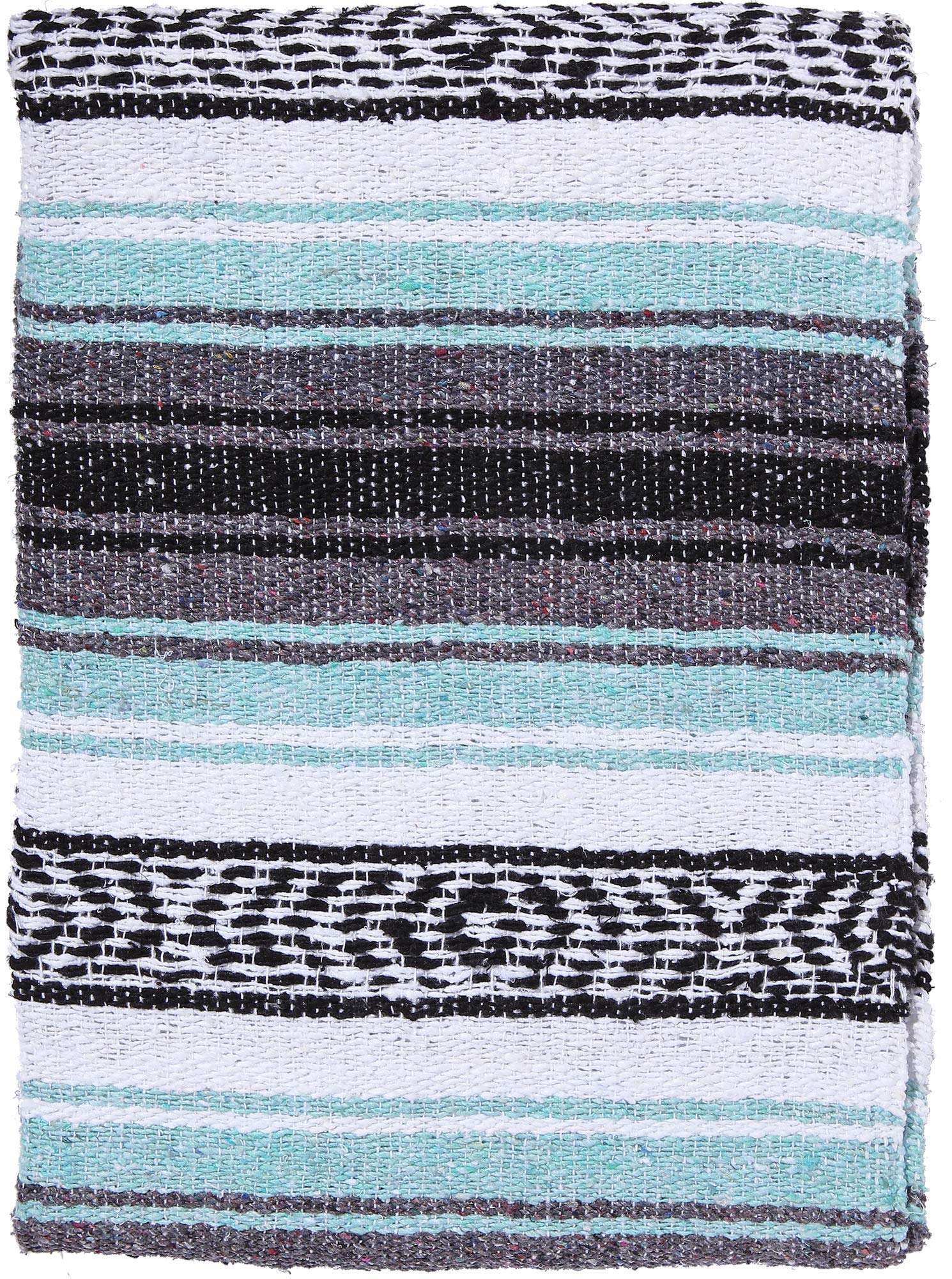 El Paso Designs Genuine Mexican Falsa Blanket - Yoga Studio Blanket, Colorful, Soft Woven Serape Imported from Mexico (Cool Mint & Gray)