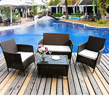 Merax 4 PCS Patio Rattan Furniture Set Cushioned Outdoor Garden Wicker  Rattan Furniture With Beige Cushion