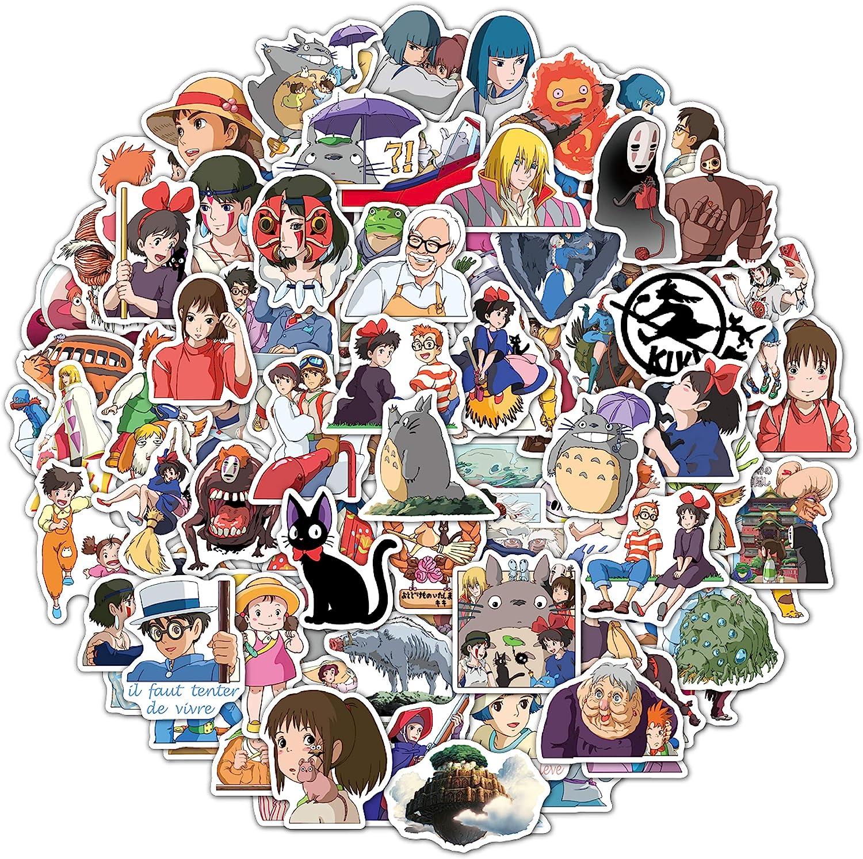 Studio Ghibli Stickers - 100 Pcs Anime Miyazaki Hayao Stickers Hanlong Vinyl Waterproof Small Kawaii Decals for Water Bottles Laptop Skateboard Phone Best Gift for Kids Teens