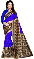 Rensila Women's Mysore Art Silk Sarees With Blouse Piece (GR_Christmas_Blue)