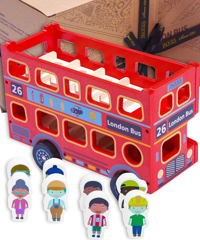 Jaques de Londres Gran autob/ús Rojo de Londres de Juguete con pasajeros veh/ículo de Juguete brit/ánico de Madera para ni/ños y ni/ñas Juego imaginativo 1795.