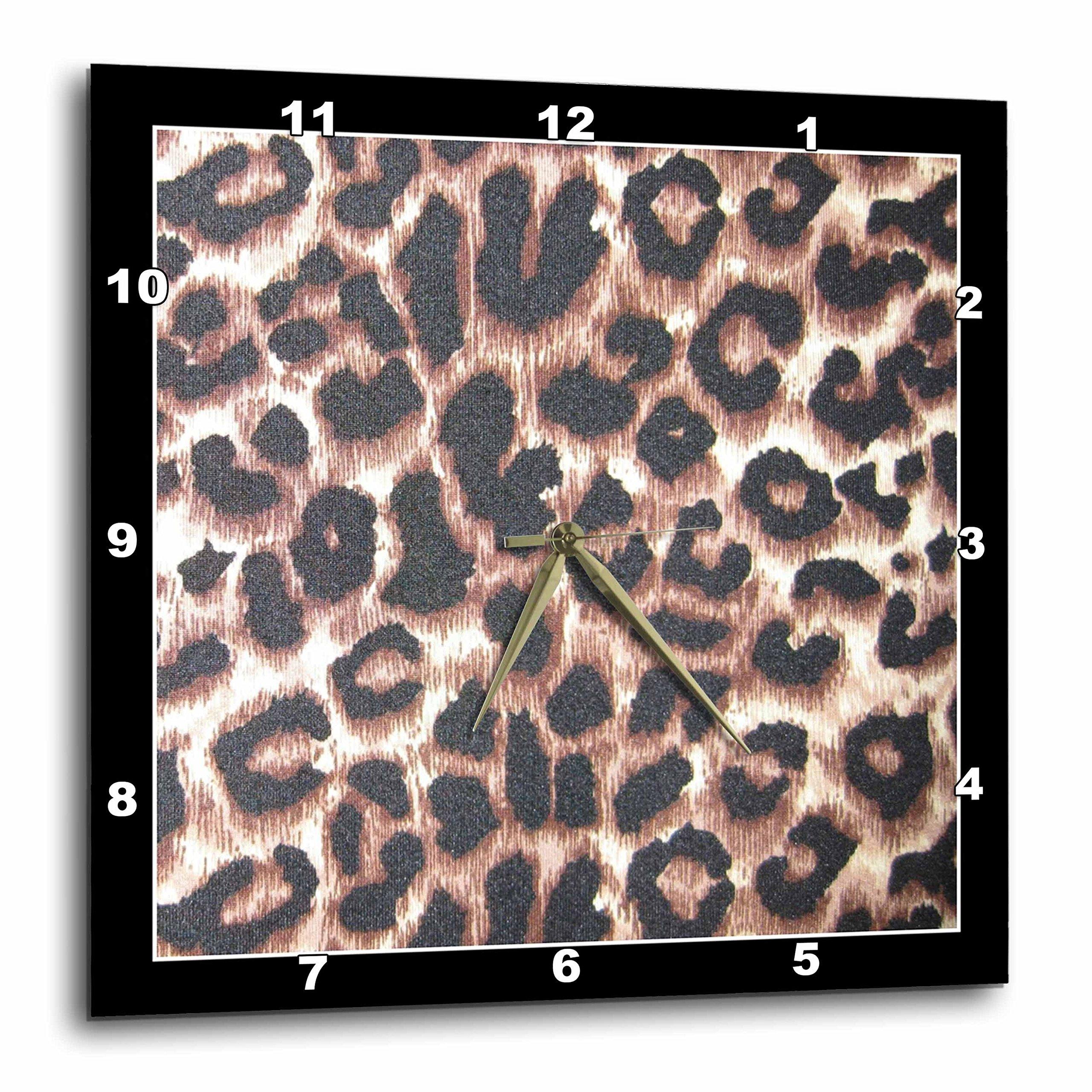 3D Rose dpp_30873_2 3dRose Black Frame Leopard Animal Prints-Wall Clock 13-inch