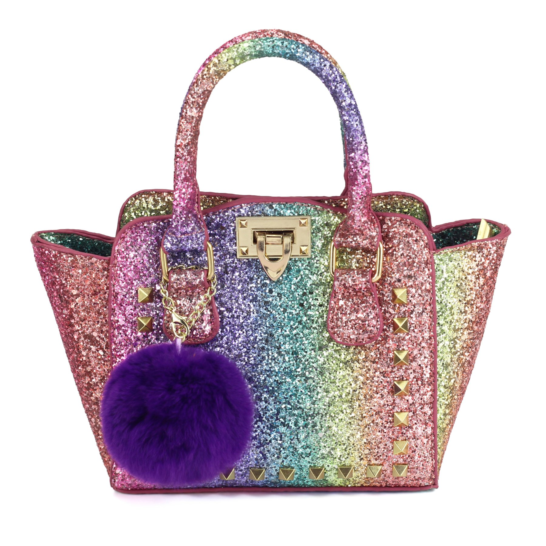 CMK Trendy Kids My First Shinny Glitter Rainbow Purse for Little Girls Toddlers Mini Tote with Poms (80003_Rainbow)