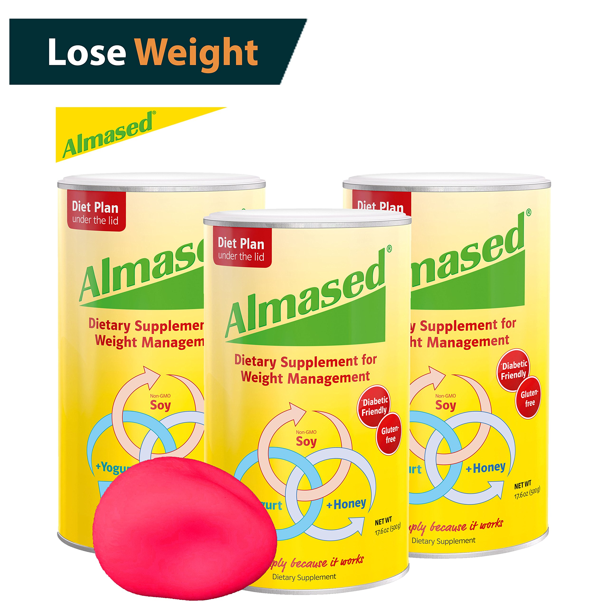 The #1 ALMASED® Diet Protein Powder 3-pack + FREE Stress Ball. Weight Loss Protein Support (17.6 ounce each) Almased® Diet Protein - Protein Support - Optimal Maximum Health and Energy (3)