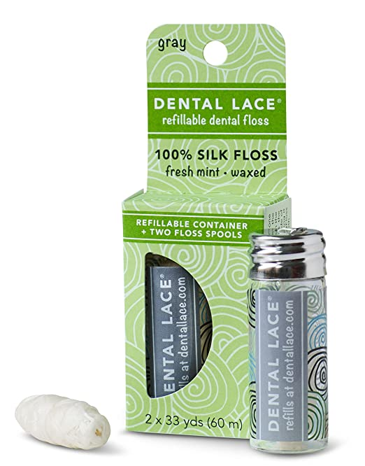 Dental Lace| Silk Dental Floss with Natural Mint Flavoring | Includes 1 Refillable Recyclable Gray Dispenser and 2 Floss Spools| 66 yards