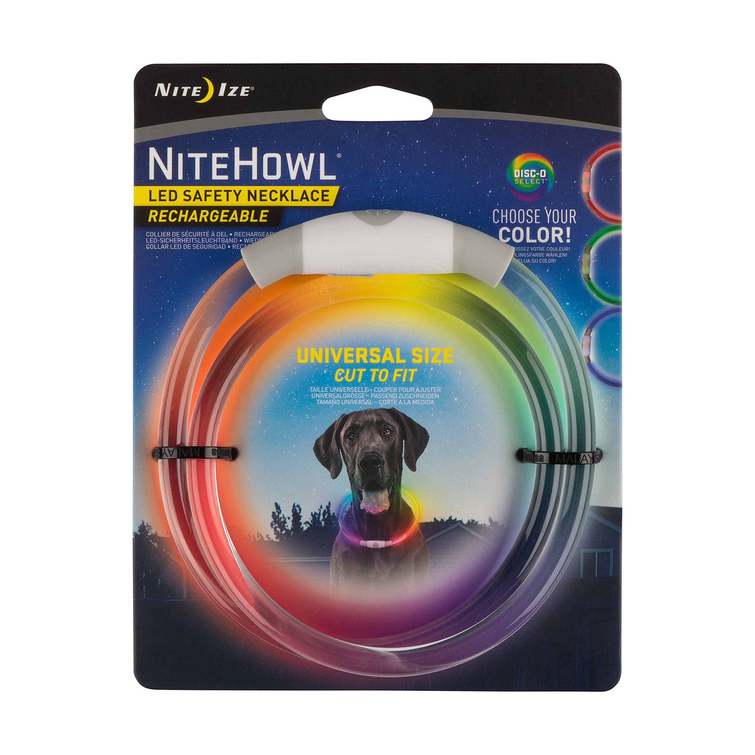 Nite Howl Rechargeable LED Safety Necklace with Disc-O Select Choose-Your-Color LED, Reusable Visibility Necklace for Pets by Nite Ize