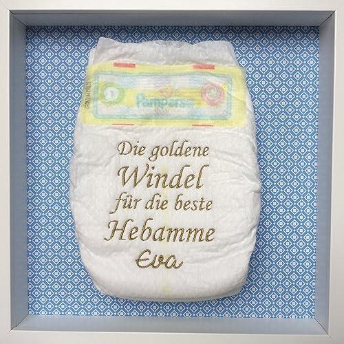 Bestickte Windel Im Bilderrahmen Taufe Geburt Geschenk Baby
