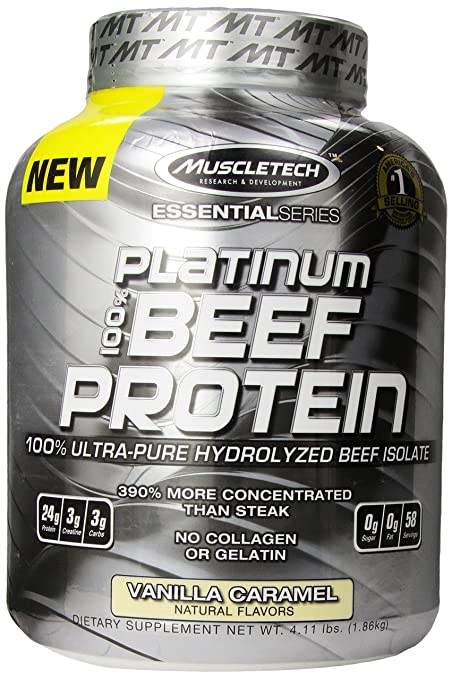 MuscleTech Platinum 100% Beef Protein, Ultra-Pure Hydrolyzed Beef Isolate, Vanilla Caramel, 4.11 lbs (1.86kg)