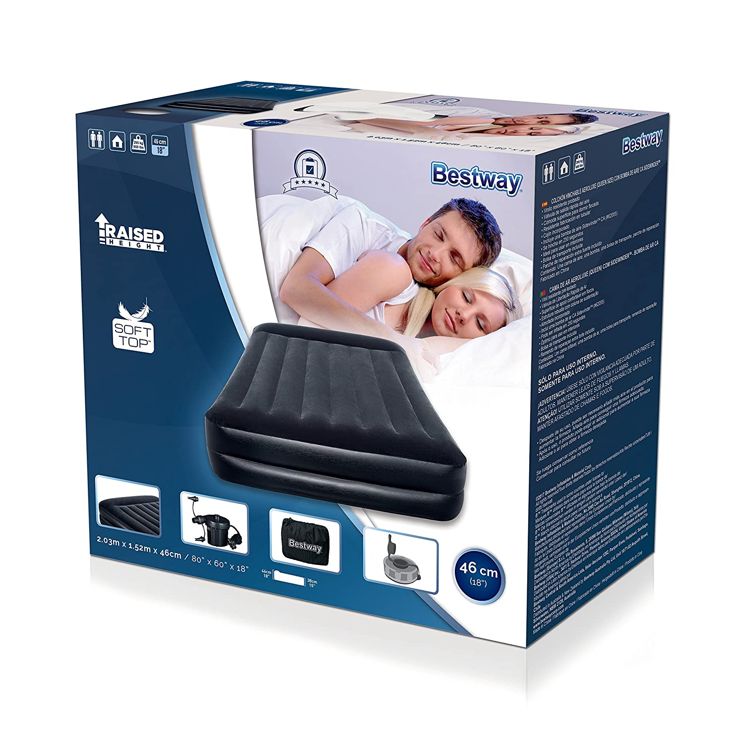 Bestway 8321120 Cama inflable doble con bomba exterior 220v 203x152x48