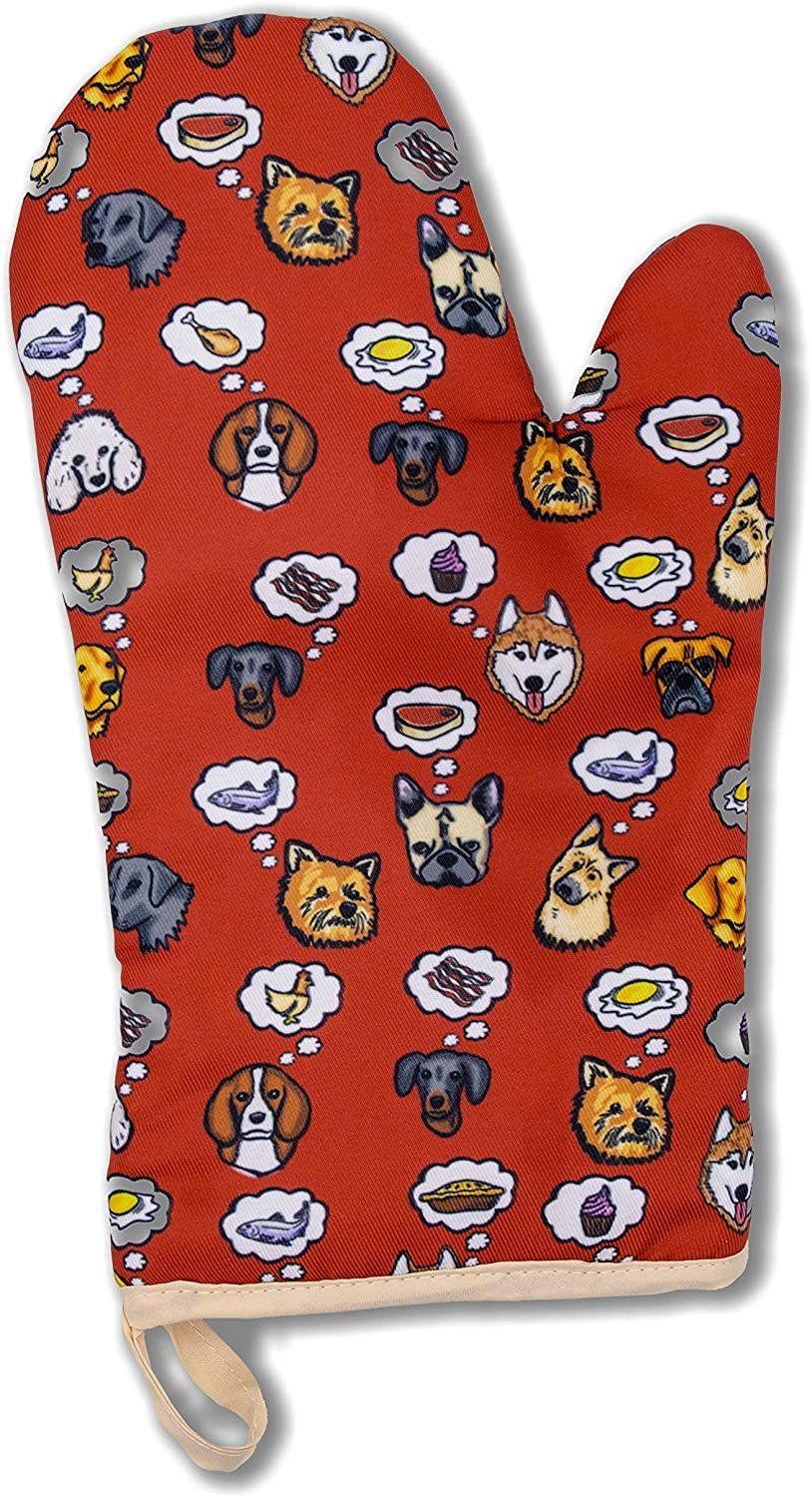 Funny Heat Resistant Oven Mitt Pot Holder Glove - Kitchen Gift for Women and Men - Cooking, Baking, BBQ and Animal Lovers (Dog Dreams)