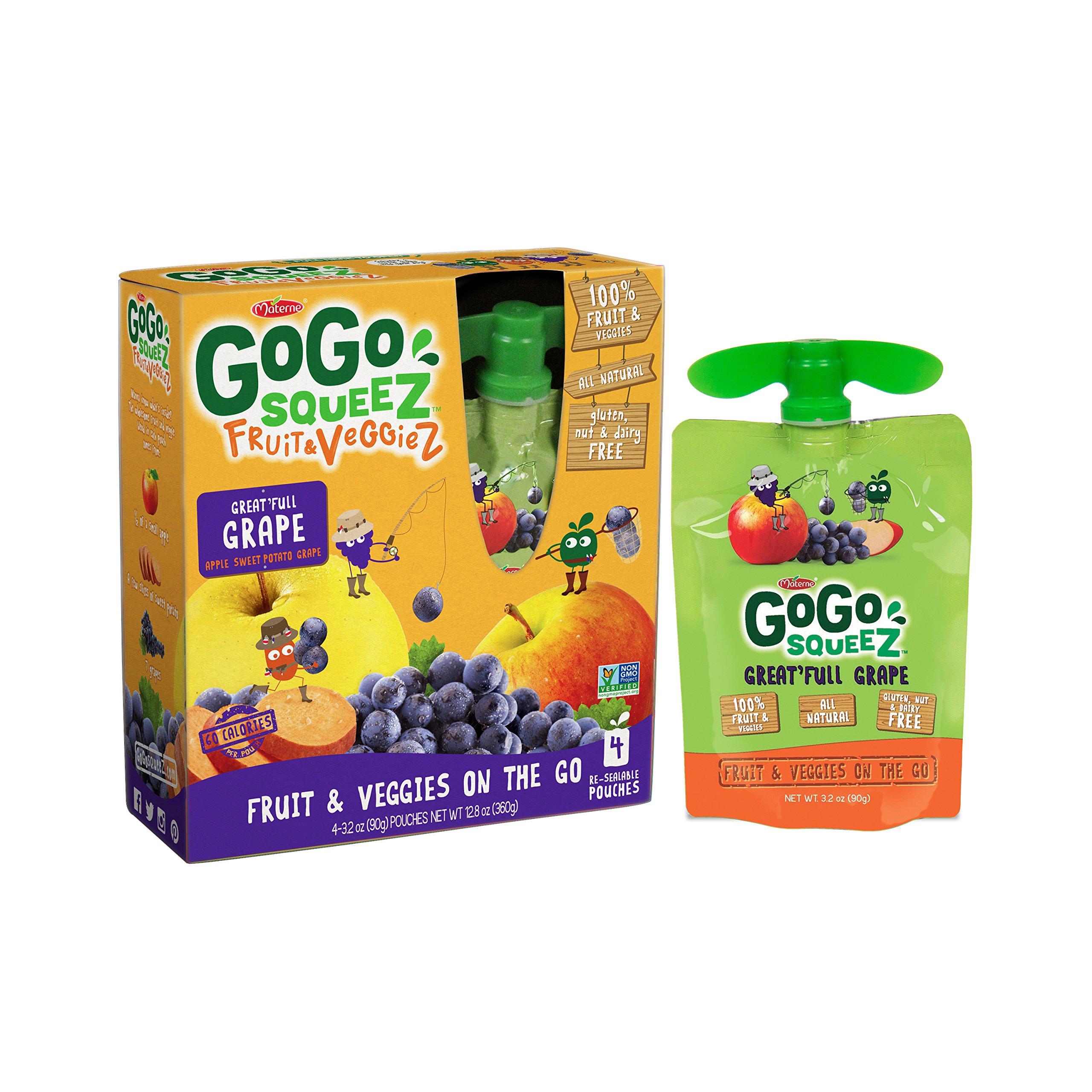 GoGo squeeZ Fruit & VeggieZ, Apple Sweet Potato Grape, 3.2 Ounce Portable BPA-Free Pouches, Gluten-Free, 4 Total Pouches