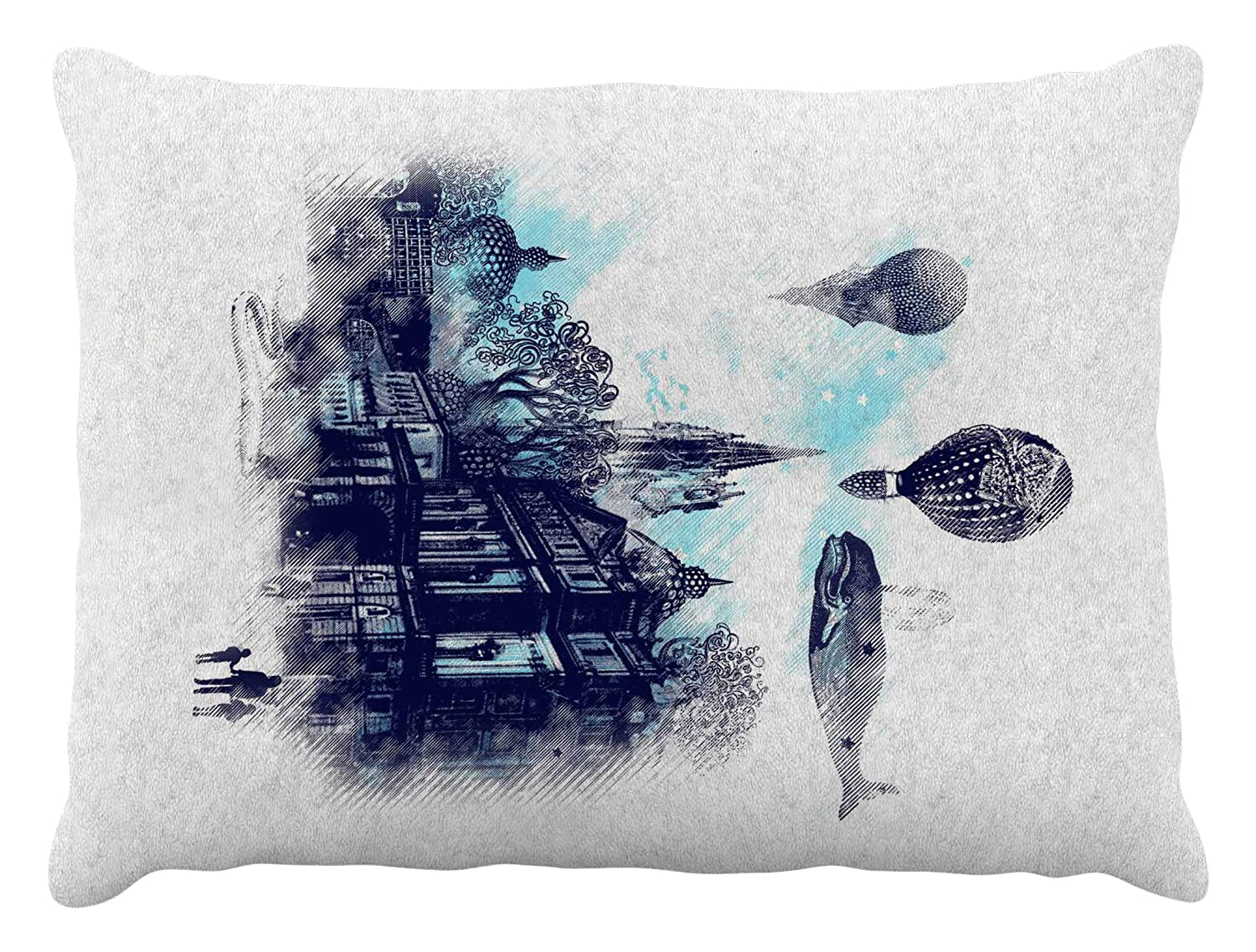 Kess InHouse Frederic Levy-Hadida Strange Town  bluee City Fleece Dog Bed, 30 by 40