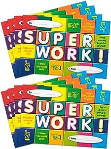 Positive Postcards from Teachers to Students, 50 Cards, Motivational Notes from Teachers, Classroom Teaching Supplies for Preschool, Kindergarten, and Elementary School Teachers (Super Work!)