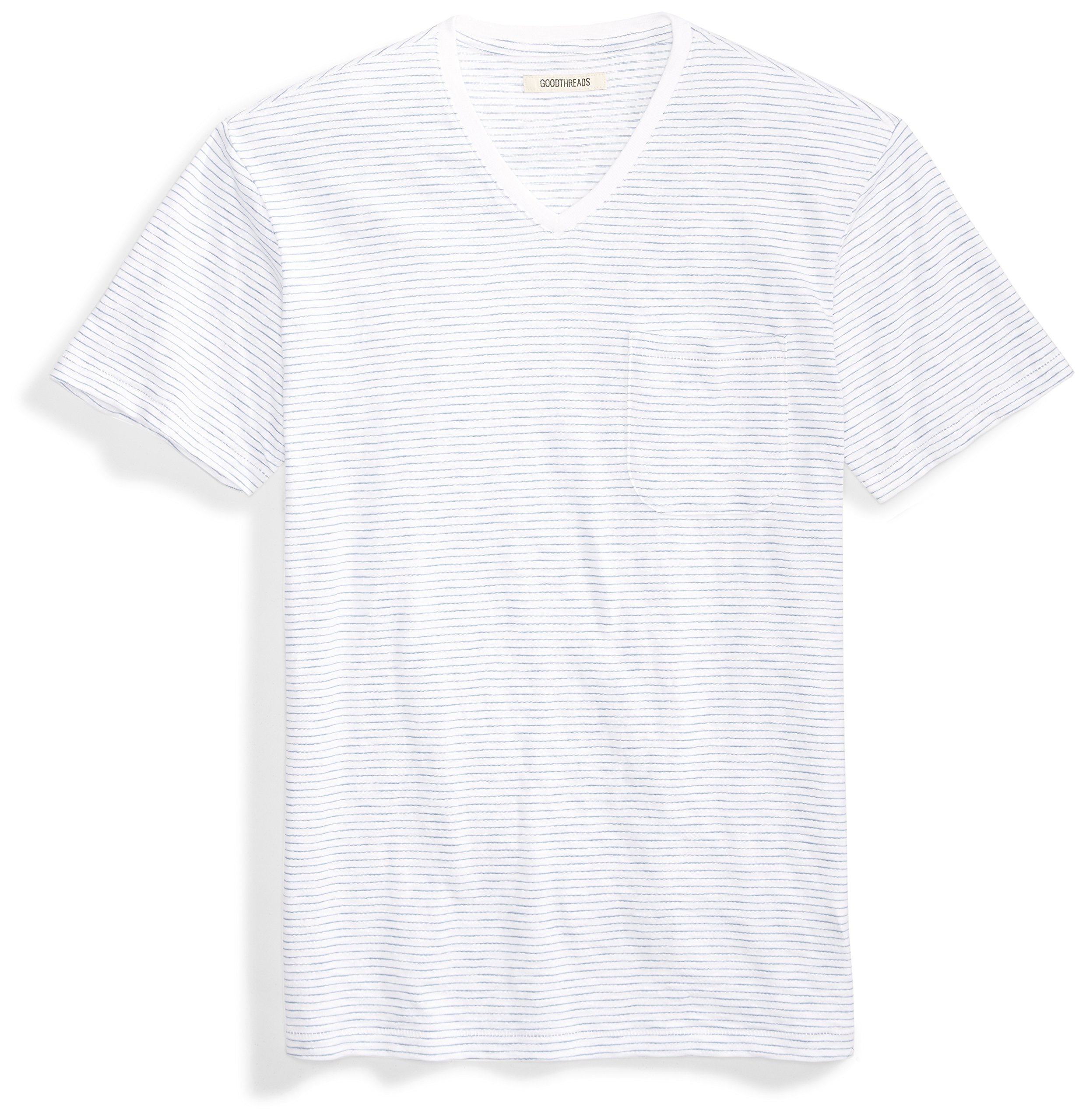 Goodthreads Men's Short-Sleeve V-Neck Striped Slub Pocket T-Shirt, Bright White/Blue Stripe, Large