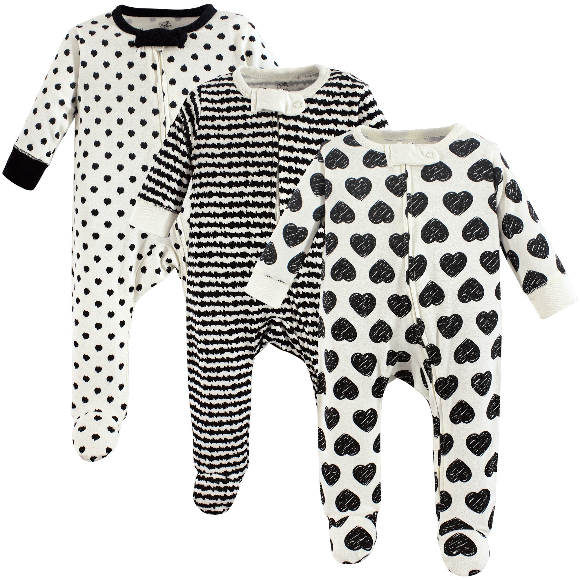 Touched by Nature Baby Organic Cotton Sleep and Play, 3 Pack, Heart, 3-6 Months