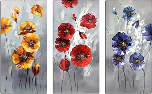 Muzagroo Art Hand Painted Red Flowers Paintings for Living Room Original Wall Art Decor 3 Panels 12x24inx3pcs