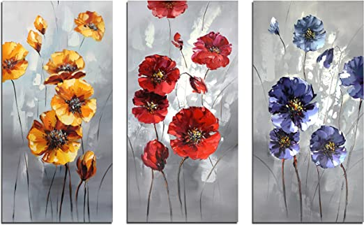 Colorful Dancing Poppies Hand Painted Abstract Flower Oil Painting On Canvas