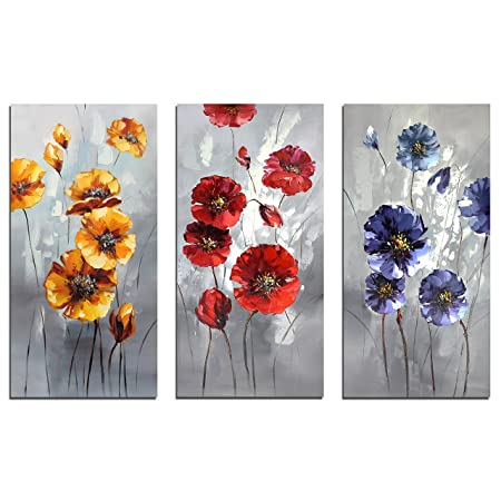 Muzagroo Art Yellow Red Flowers Paintings Hand Painted Art Wall Decor Canvas Pictures for Living Room 3 Panels 16x32inx3pcs