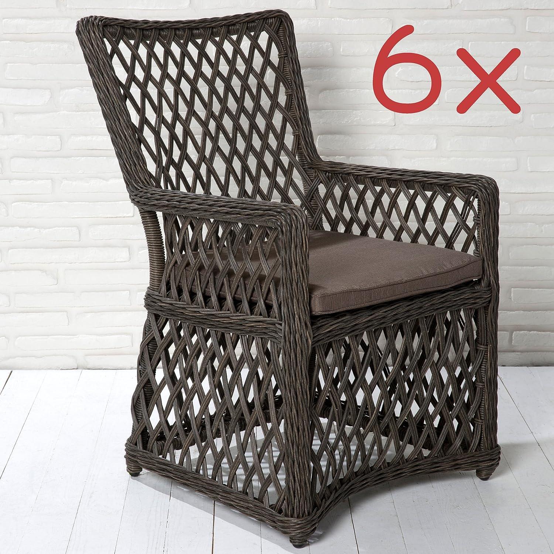 6er Set Gartenstühle Gartensessel Braun In Rattanoptik Gartenmöbel