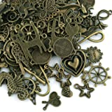 Naler 100pcs Antique Bronze Mixed Styles Pendant Charm for DIY Jewellery Making, Bracelet, Necklace, Earring, Jewellery Finding Art Craft Decoration Accessories