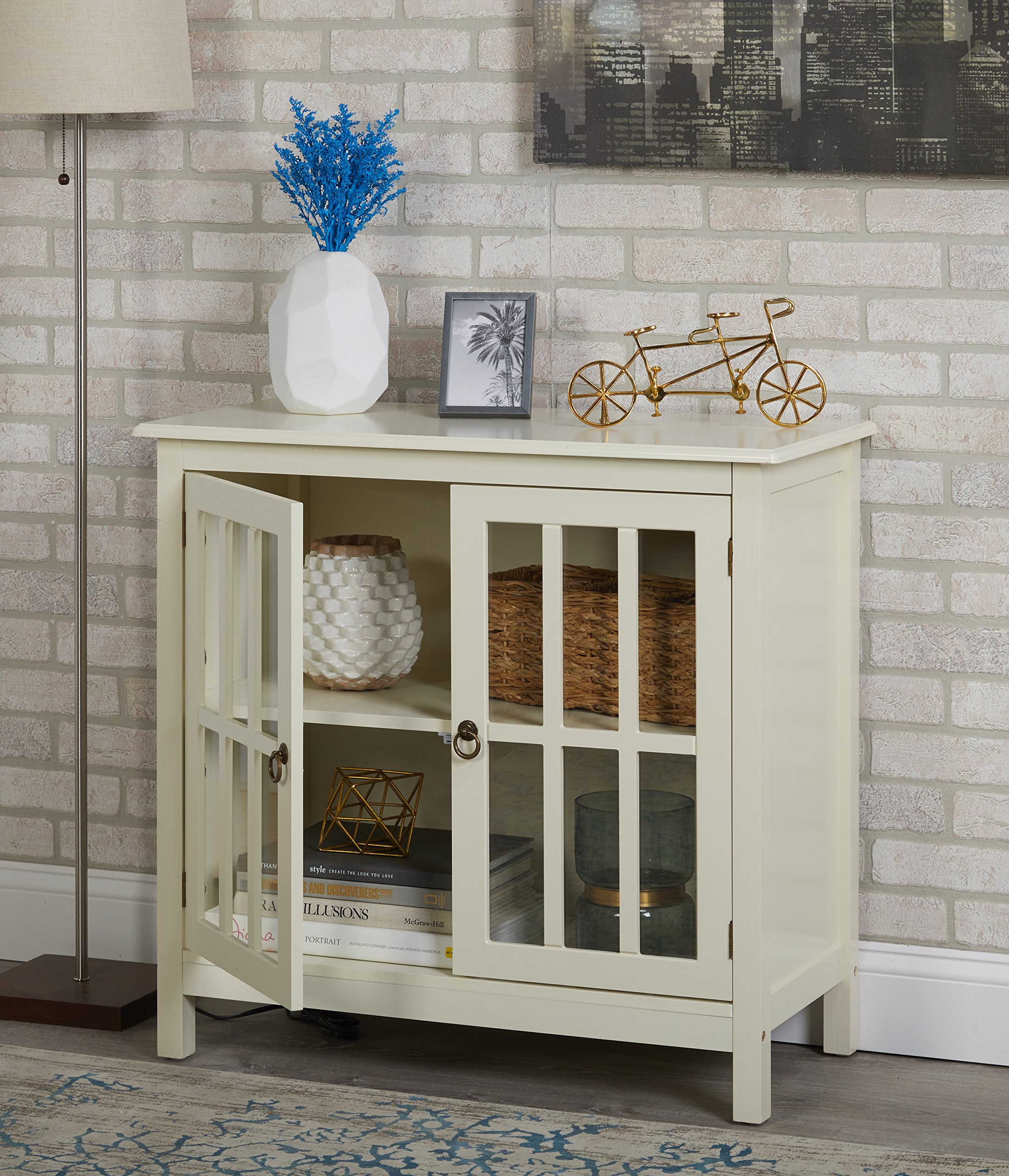 HnG Small Glass Door Cabinet Display Antique White Wood 2 Door 2 Shelf Curio Buffet Vintage Strong and Sturdy