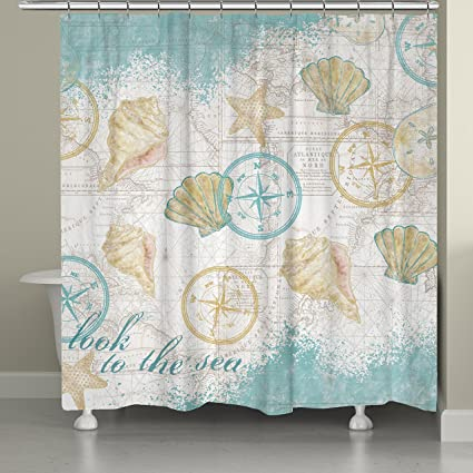 Laural Home LS72SC Look To The Sea Shower Curtain Blue Beige