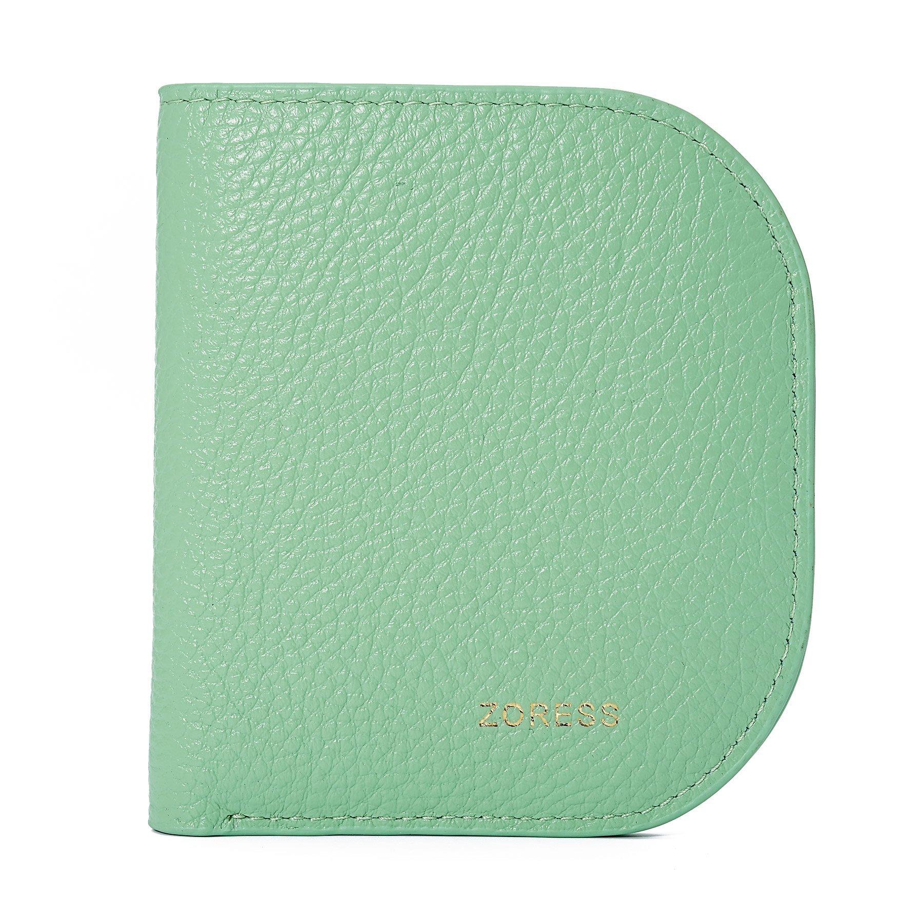 RFID women's short folding leather small wallet zipper buckle mini bifold Multi Card Holder Purse (Green)