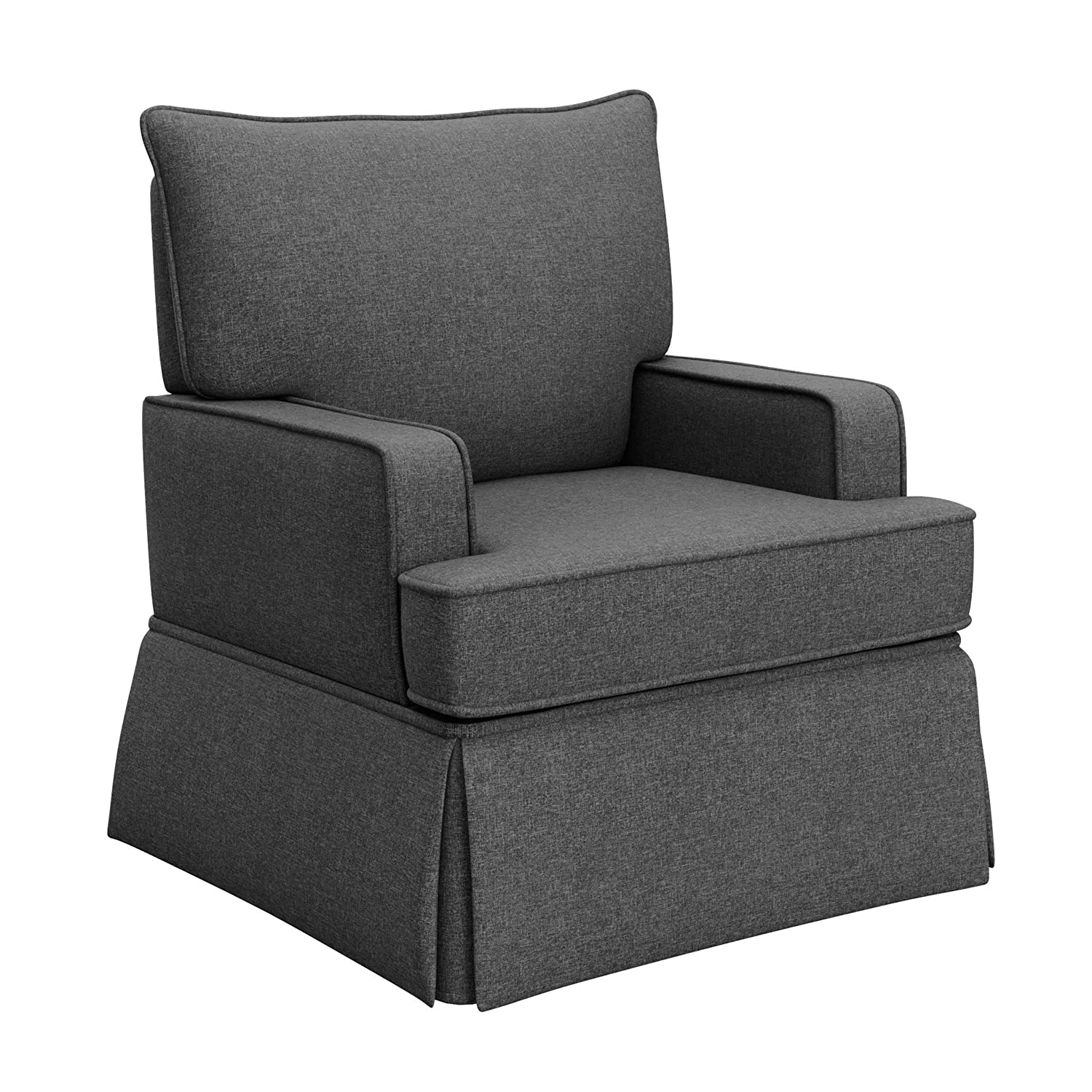Storkcraft Davenport Upholstered Swivel Glider Shadow Cleanable Upholstered Comfort Rocking Nursery Swivel Chair