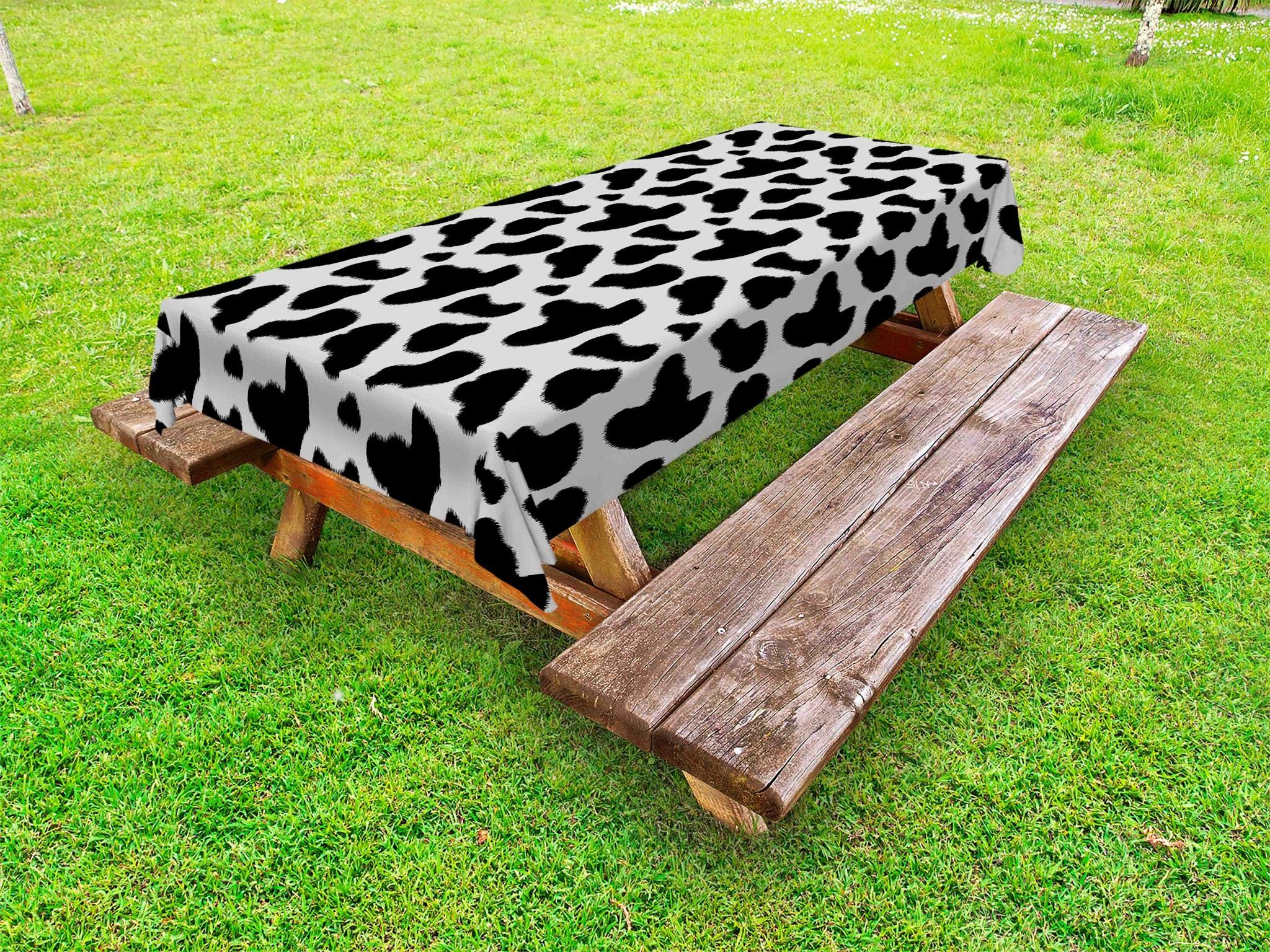 Ambesonne Cow Print Outdoor Tablecloth, Cow Hide Pattern with Black Spots Farm Life with Cattle Camouflage Animal Skin, Decorative Washable Picnic Table Cloth, 58 X 84 Inches, White Black