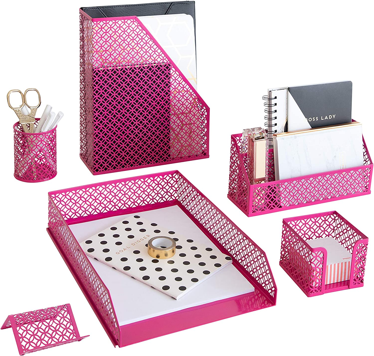 Blu Monaco Pink Office Supplies Hot Pink Desk Accessories for Women Office - 6 Piece Cute Pink Desk Organizer Set