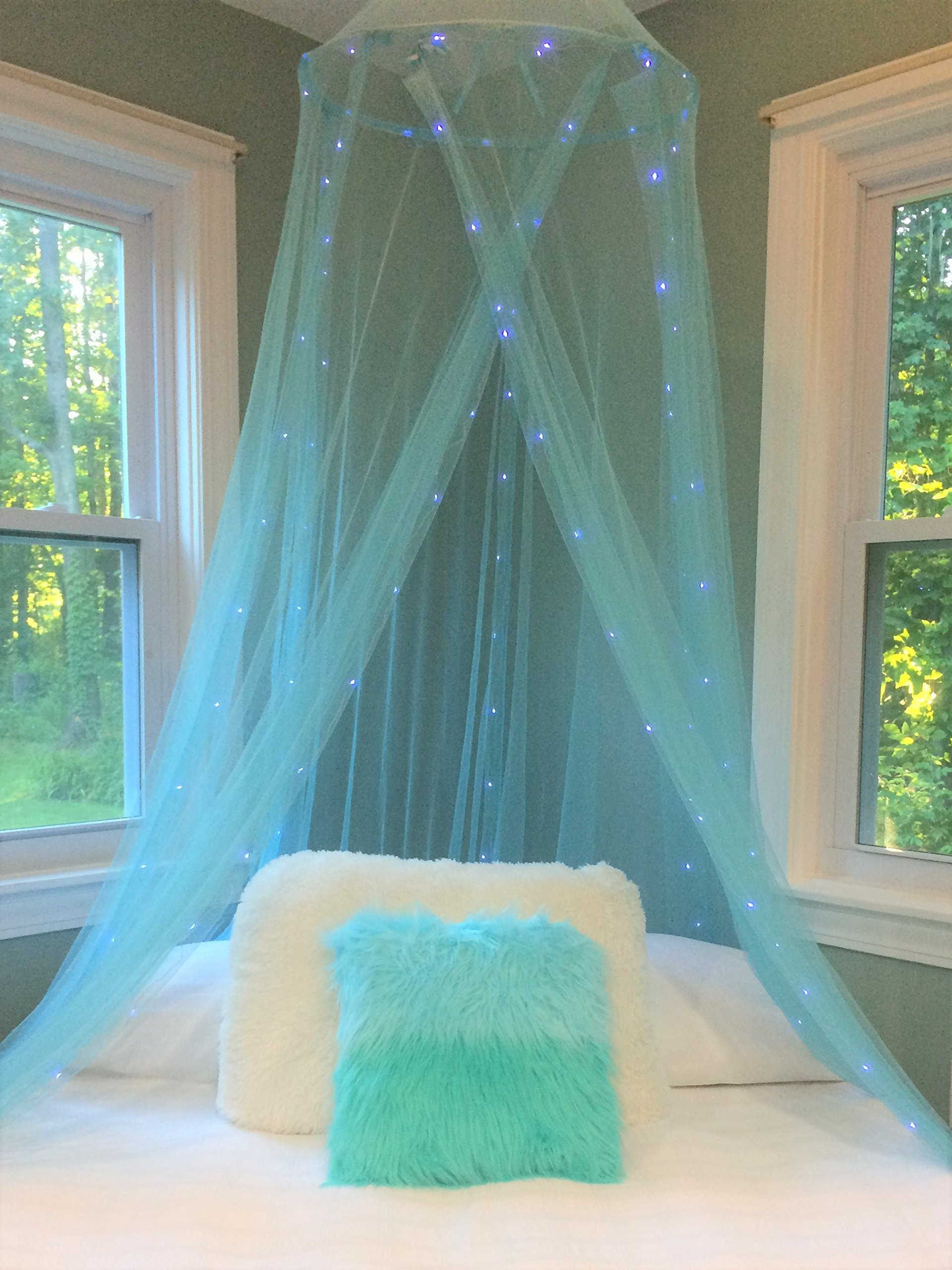 Pearls and Pixie Dust Deluxe Bed Canopy With Shimmering Lights (Turquoise)