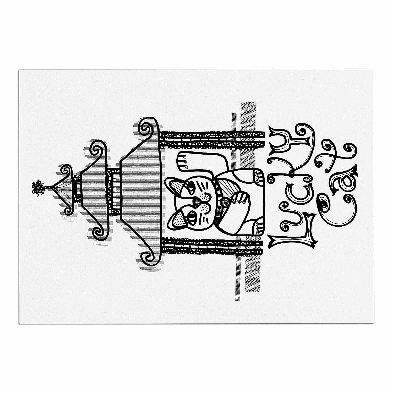 Kess Inhouse Jane Smith Lucky Cat Black White Dog Cartoon Dirt Bike Engine Diagram Place Mat 13 X 18 Pet Supplies