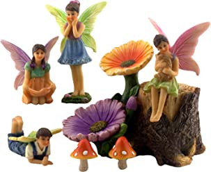 Pretmanns Fairy Garden Accessories Kit – Miniature Fairy Figurines & Flower Stump Supplies – 7 Pieces