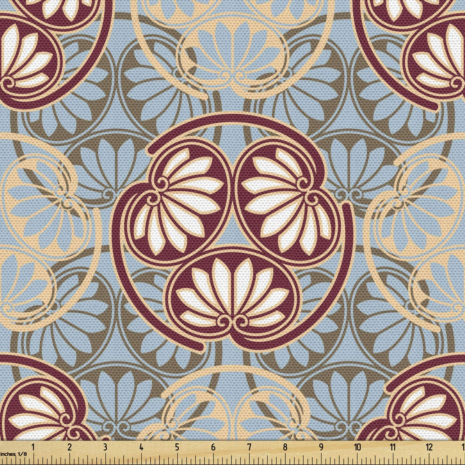 Ambesonne Geometric Fabric by The Yard 1 Yard Japanese Traditional Fan Pattern in Pale Colored Image Ornamental Abstract Art Decorative Fabric for Upholstery and Home Accents Beige Grey