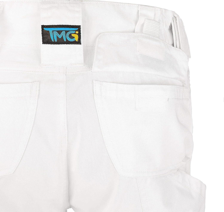 pantalones largos para hombre con bolsillos y reflectores Blanco 50 Pantalones de trabajo para hombre blanco o gris color negro TMG/® Elegance