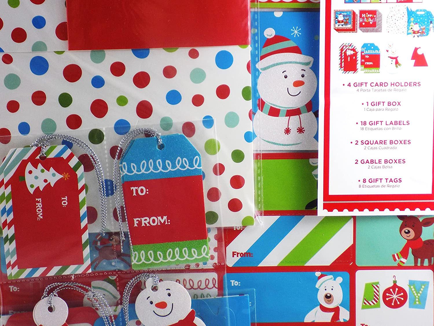 Amazon.com: 35 Piece Snowman Glittered Christmas Gift Package Kit with Boxes Gift Tags and Labels: Health & Personal Care