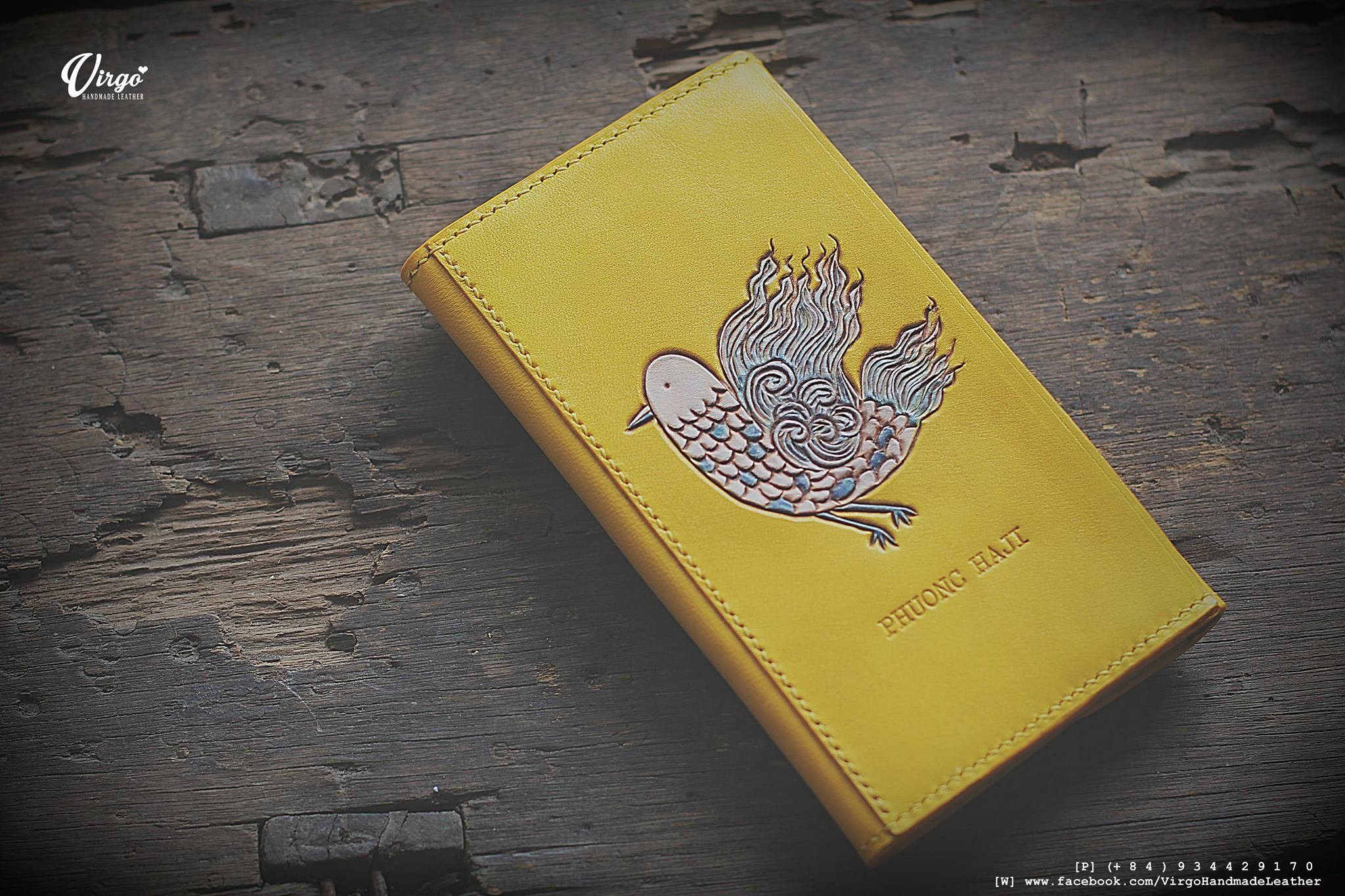 Bird hand tooled long envelope wallet for women | Personalized Vintage vegetable tanned leather handmade wallet