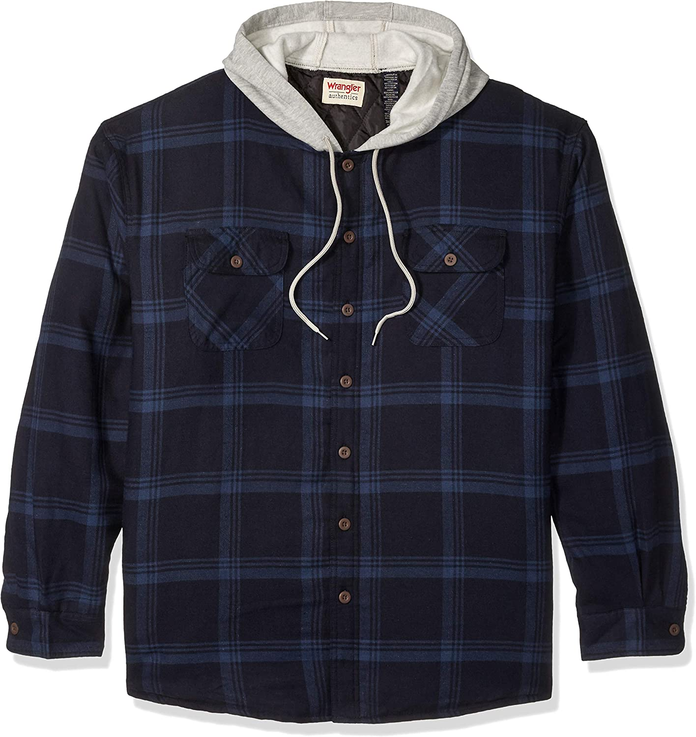 Wrangler mens Long Sleeve Quilted Lined Flannel Jacket With Hood Button Down Shirt XX-Large US Total Eclipse With Heather Gray