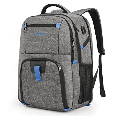 POSO Laptop Travel Backpack 17.3 Inch Computer Bag With USB Port Water-resistant Business Rucksack Hiking Knapsack Multi-compartment Men Backpack For Dell Alienware Series / HP / Lenovo / Acer (Grey) lovely