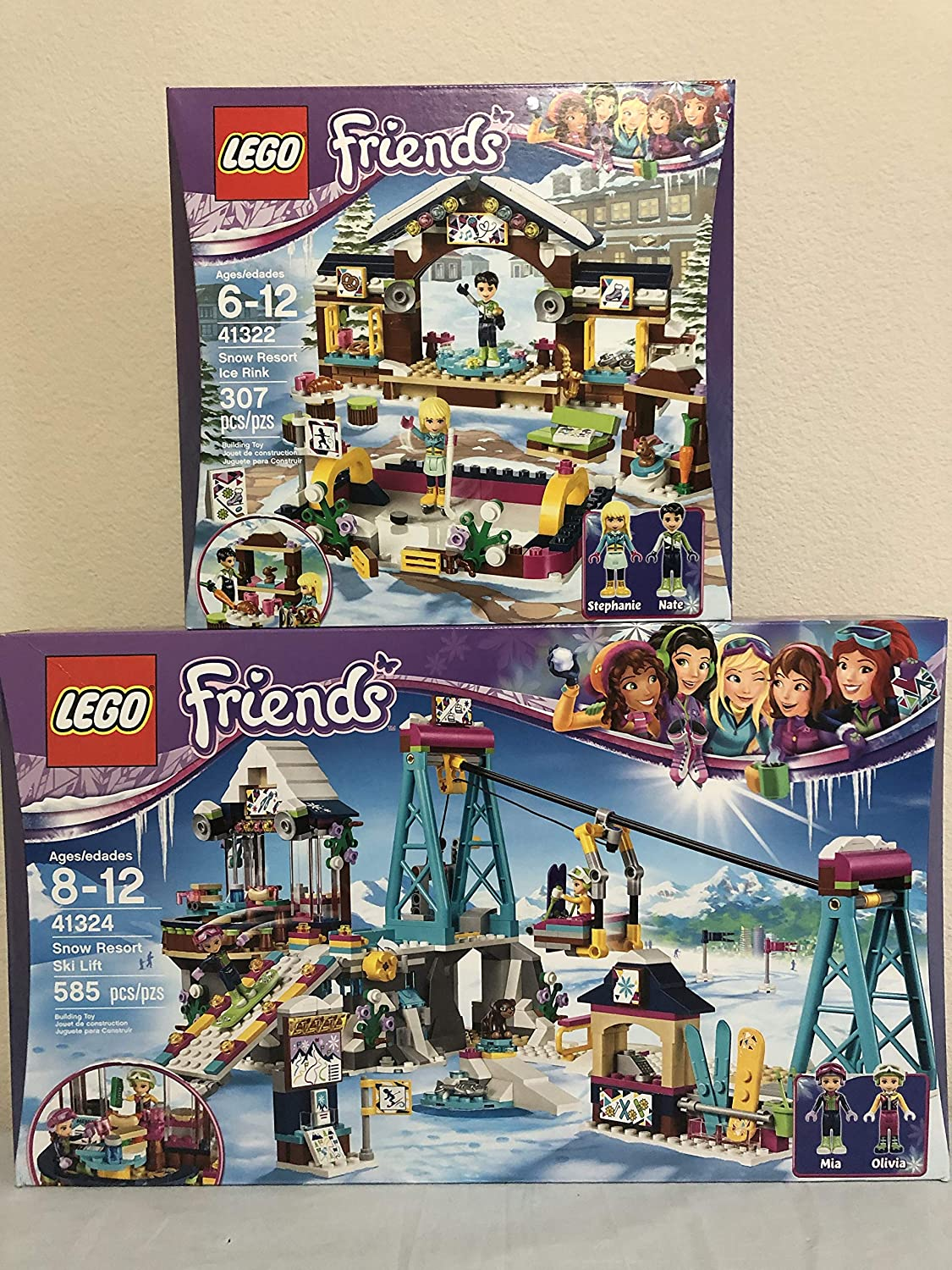 Lego Friends Snow Resort Ski Lift Bundled with Lego Friends Snow Resort Ice Rink