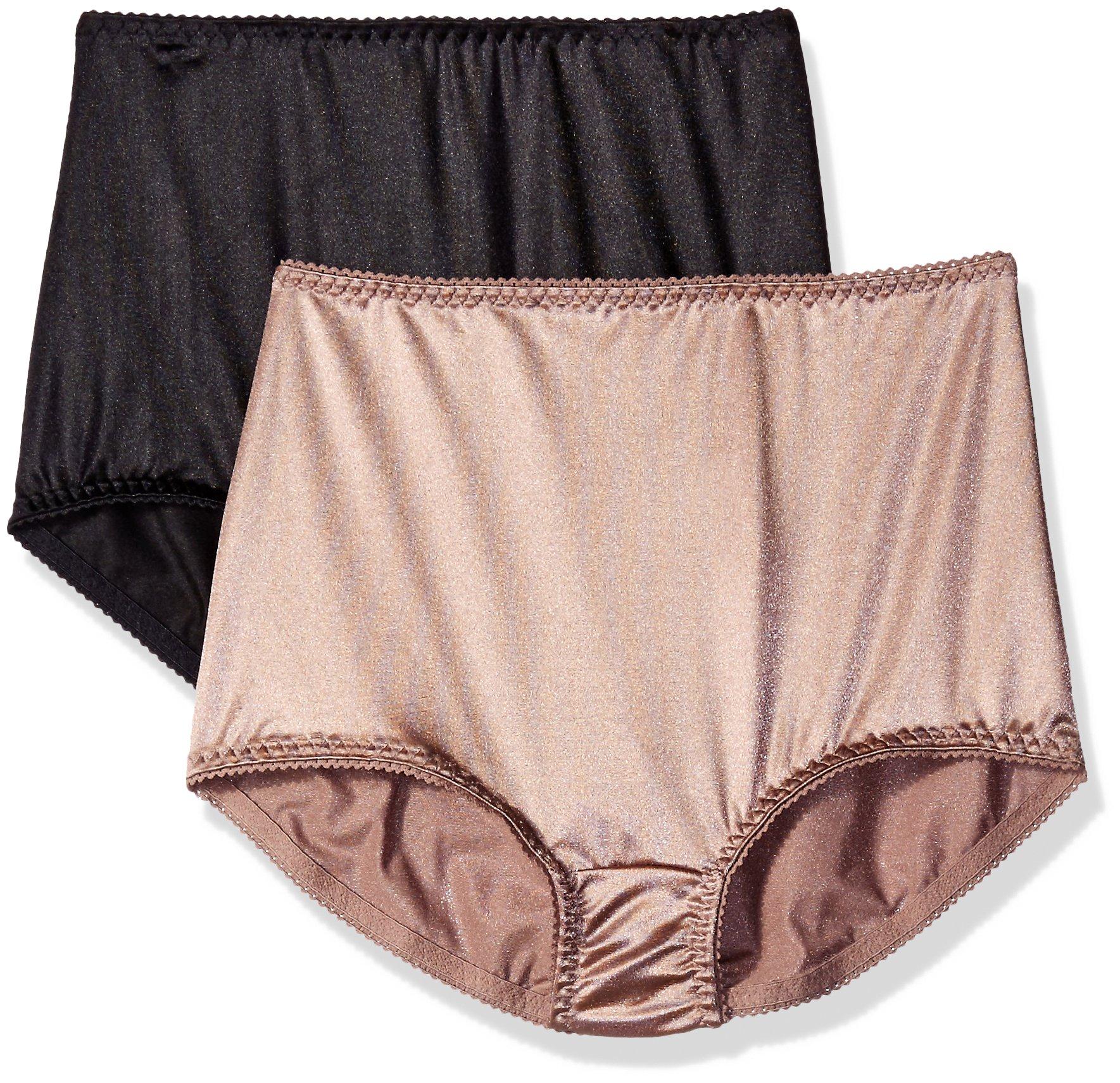 Vassarette Women's Undershapers 2-Pack Light Control Brief 40201, Walnut/Black, 3X-Large/10