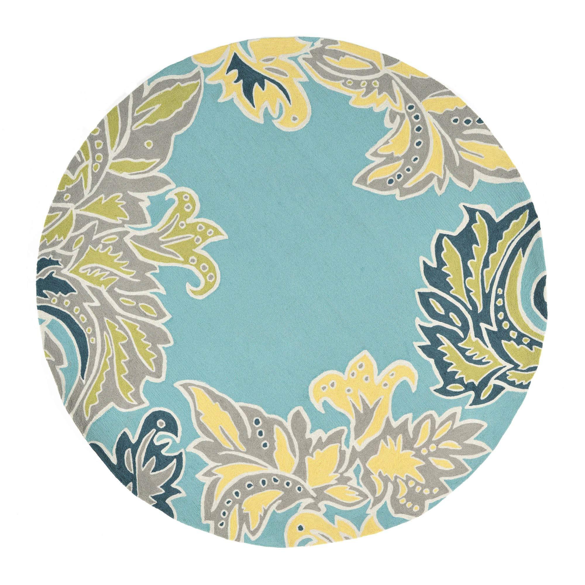 Liora Manne RV0D8A22403 1947/03 BDR WA Ravella Ornamental Leaf Border Indoor/Outdoor Rug, 8' Round, Blue