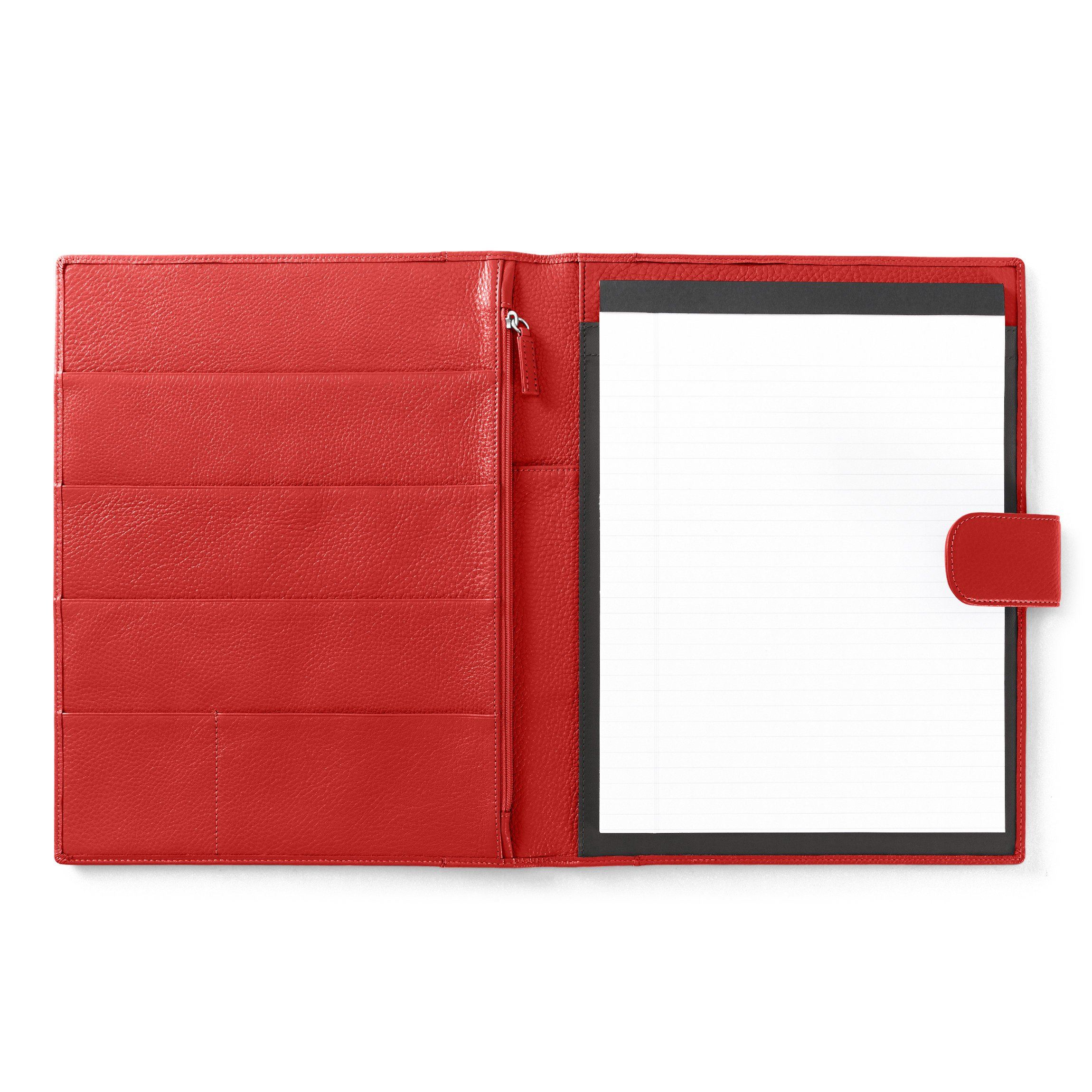 Leatherology Organizer Portfolio with Tablet Pocket & Magnetic Closure - Full Grain Leather Leather - Scarlet (red)